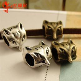 Wholesale Large Tibetan Silver Pendants - A3629 9*11MM Antique Bronze european style fox charm pendant beads lot, tibetan silver animal charms large hole, DIY jewelry wholesale