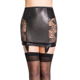 Wholesale black lace garter l - New Sexy Faux Leather Mini Skirt Women Black Low Waist Lace Patchwork Back Lace-Up Skirt with Garter Exotic Apparel W850475