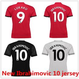Wholesale Custom Size Soccer Jerseys - Ibrahimovic 10 Pogba Lukaku Mata Shirt Home Red Away Black Third 17 18 Soccer Jerseys Custom Football Uniforms Kit Thai Quality Size: S-XL