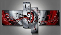Wholesale Passion Abstract Oil Painting - Hi-Q Hand painted modern wall art home decorative abstract oil painting on canvas Passion colors rendering red 4pcs set framed