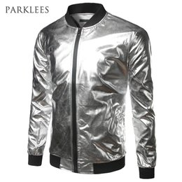 Wholesale Shiny Jackets Men - Wholesale- Silver Metallic Bomber Jacket Men Mandarin Collar Shiny Night Club Baseball Varsity Jacket Men Casual Slim Fit Mens Jacket Coats