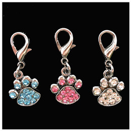 Wholesale Black Paw Charm - 2pcs Rhinestone Paw Collar pet Charm Pet Jewelry Cat dog collar pendant Bone Necklace Collar Puppy collar accessory