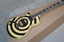 Wholesale Emg Pick Ups - Left Handed Hot Sale Custom Shop High Quality Zakk Wylde Bullseye yellow & black 6 Strings Electric Guitar EMG pick-up Free shipping