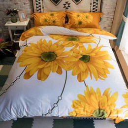 Wholesale Comforter Sets 3d Printing - Hot sale 2017 Home textile bedding-set 3D three-dimensional active printing European cotton quilt bed sheet sunflower 4pcs set bed