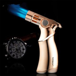 torch glasses Promo Codes - Cheapest Fourfold lighter mouthes Butane Torch gun lighter Windproof Lighter Gun Jet Flame for cigarette glass bong Kitchen with gift box