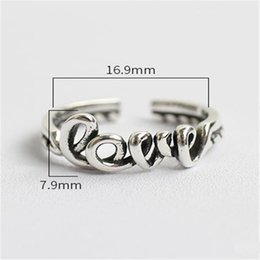 Wholesale Pure Love Ring 925 - New Punk Jewelry Pure 925 Sterling Silver Twist Love Open Size Finger Rings Fashion Vintage Retro Adjustable Cuff Ring For Women
