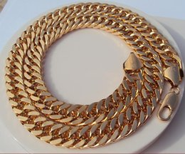 Wholesale Mens Heavy Gold Chains - Heavy 18K Yellow Gold Double Curb Chain Mens Huge Necklace 9mm wide thick Containing about 30% or more of an alloy
