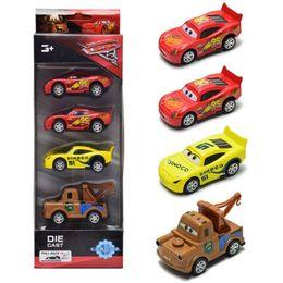 Wholesale Toy Alloy Cars Set - 4pcs set Pixar Racing Cars 3 Toys McQueen Mater Jackson Storm Ramirez 1:55 Diecast Metal Alloy Toys Model Figures Boys Kids Gifts