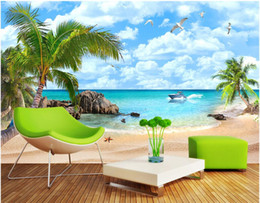 Wholesale Vintage Bedroom Decorations - 3d room wallpaer custom mural photo Sea view Mediterranean beach scenery picture decoration painting 3d wall murals wallpaper for walls 3 d
