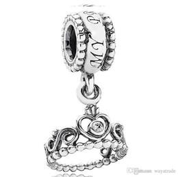 Wholesale Heart Crown Pendant 925 - Wholesale Princess Crown Pendant Charm 925 Sterling Silver European Floating Charms Beads Fit Pandora Snake Chain Bracelet DIY Jewelry