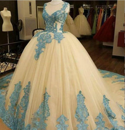 Wholesale Cheap Ice Blue Prom Dresses - Luxury Ball Gown Tulle Prom Dresses Sheer Crew Neck Ice Blue Appliques Puffy Quinceanera Gowns Evening Formal Dress Plus Size Cheap 2017