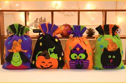 Wholesale Personalized Gifts Children - New New Halloween Colorful Sacks Bag Personalized Personalized Children Candy Gifts Bag Pumpkin Witch Cat Owl treat or trick Drawstring Bags