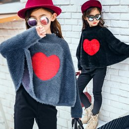 Wholesale Wholesale Capes Ponchos - Everweekend Girls Love Batwing Sleeve Fleece Capes Poncho Candy Beige Gray and Black Color Cute Children Fashion Autumn Tops