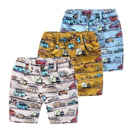 Wholesale Garments For Kids Wholesale - Boy's Shorts Car Print Holiday Clothing Beach Shorts for Boy Summer fashion trousers kids brand garment