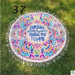 Wholesale Tablecloth Print Designs - Indian Mandala Round Roundie Beach Throw Cotton Printed Tapestry Hippy Boho Tablecloth Beach Towel Round Yoga Mat 37 Designs CCA4537 100pcs