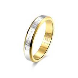 Wholesale Sales Forever - Christmas Top Sale Mark 18K Gold Plated Ring Women's Round Forever Love Ring Wholesale Five Size 6-10 R096
