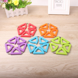 Wholesale Round Trivet - Wholesale- Pad Coaster Pads Trivets Mat Holder Peach Blossom Shaped Stainless Steel Pot Coasters Silicone Insulation Placemat Potholder