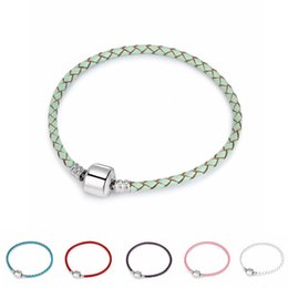 Wholesale Genuine Crystal Bracelets - 3mm Genuine Leather European DIY Charms Beads Bracelets Accessories for women jewelry