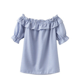 Wholesale Ladies Ruffled Lace Blouses - 2016052419 Woman Summer Blouses and Tops New Arrival Ladies Blue and White Striped Short Sleeve Ruffle Boat Neck Cute Blouse