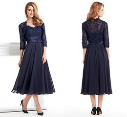 Wholesale Evening Gowns Tea Length Dresses - Custom Made Tea Length Mother Of The Bride Groom Dress With Jacket Long Sleeves Navy Blue Lace Plus Size Women Evening Formal Gown