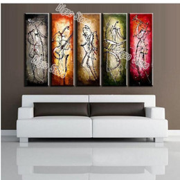 Wholesale Abstract Modern Figure Painting - 5 Pieces Hand Painted Figures Oil Painting on Canvas Modern Abstract Musical Performer Painting Home Wall Art Decorations