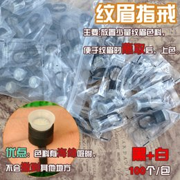 Wholesale Eyebrow Rings For Ink - New 100PCS Plastic Tattoo Ink Cups with Sponge Makeup Rings For Eyebrow Tattoo Makeup Permanent Tattoo   Makeup Accessories