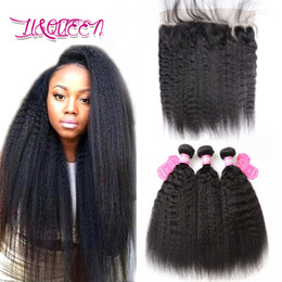 Wholesale Cheap Kinky Straight Human Hair - Malaysian Virgin Hair Kinky Straight Human Hair Weave With Frontal Closure Double Weft Malaysian Yaki Hair 4 Pcs Lot Cheap Weave