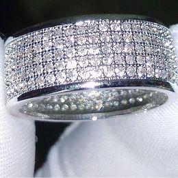Wholesale 14k Wedding Ring Set - Wholesale - 250Pcs jewelry Diamonique simulated diamond white full topaz 10KT White Gold Filled women Wedding band Ring gift Sz 5-11