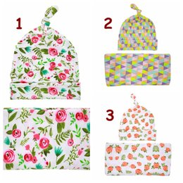 Wholesale Towel Gift Wrapping - 3Styles Baby Swaddle Blanket Knot Top Hat Set Newborn Shower Gift Rose Flower print Hospital wrapped with Beanie Photography props