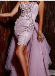 Wholesale White Peplum Mini Skirt - 2016 Prom Dresses Sweetheart Lace Appliques Sheath Heavy Peplum and Tulle Skirt Manual Satin Mini Length Evening Dressees