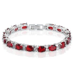 Wholesale Rubies Bangles - Women's Oval Cut Ruby and Round White Cubic Zirconia CZ Tennis Bracelet, 18K White Gold Plated Bangle Bracelet, Free Shipping