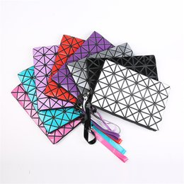 Wholesale Triangle Candy Bags - 11 Colors Women Makeup Bags Cosmetic Bags The new creative make-up bag PU triangles dumplings package Women's mobile phone package