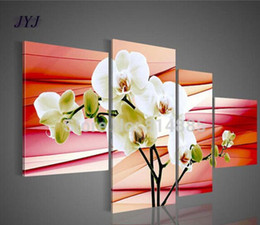 Wholesale Original Handmade Landscape Oil Painting - Three Designs Best Quality Original Orchid Flower Picture Handmade Modern Abstract Oil Painting On Canvas Wall