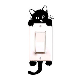 Wholesale Cat Tile - Wholesale- DIY Funny Cute Cat Wall Stickers Light Switch Decor Decals Art Mural Baby Nursery Room decoration Bedroom Parlor Decoration