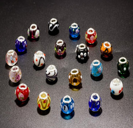 Wholesale Necklace Thread Beads - DIY jewelry thread core murano glass beads mix lampwork glass beads big hole Murano Charm Bead For Bracelets   Necklace