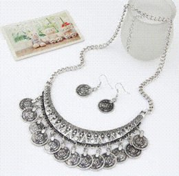 Wholesale Horn Earring Silver - The Lowest Price 2015 Fashion Collier Femme Silver Coins Bohemian Pendant Colar Statement Necklaces and Earrings Jewelry N2172