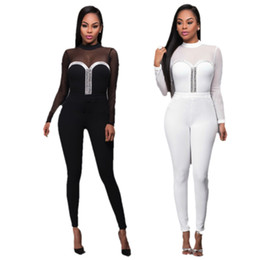 Wholesale Womens Sexy See Through Jumpsuits - Wholesale- Fashion Mesh Patchwork Rompers Women Jumpsuit Long Pants Outfits Long Sleeve Womens See Through Sexy Jumpsuit Combinaison Femme