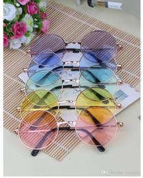 Wholesale John Lennon Style Sunglasses - Japan explosion models tide circular fluorescent color lens sunglasses mirror sunglasses John Lennon Style Vintage Round Peace Sunglasses Un