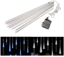 Adaptador led de luces de navidad online-Xmas LED lluvia de meteoros tubos de lluvia luz 30cm 50cm 8 tubo 100 ~ 240V UE EE. UU. Enchufe navidad vacaciones cuerda lámpara de gota de lluvia + adaptador de corriente