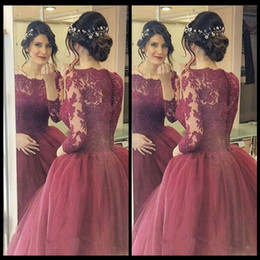 Wholesale Classic Dream - Grace Burgundy Prom Dresses Puffy Ball Gowns Of The Lace Long Sleeve Dream Princess Evening Party Formal Gowns With Appliques