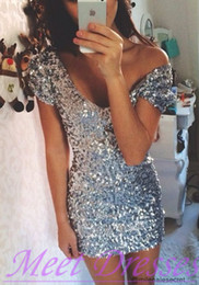 Wholesale Silver Bling Club Short Dress - New Bling Bling Sliver Short Sweet 16 Grade Graduation Dresses Sexy V Neck 2017 Sheath Party Dress with Crystals Formal Dresses