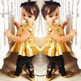 Wholesale Sexy Tops For Leggings - New Cool Baby Girl Suit for aged 2Y~13Y Gold Tops Leggings Pants Sexy Clothing Sets Casual Short Sleeve 2 Pieces Dance Party Clothes
