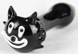"Wholesale Usa Pipes - 2pcs lot Cat glass pipe 4.5"" black smoking pipe glass pipe free shipping to USA"