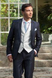 Wholesale Men S Ties Navy White - Wholesale-New Arrival One Button Navy Blue Groom Tuxedos Groomsmen Men's Wedding Prom Suits Custom Made (Jacket+Pants+Vest+Tie) K:459