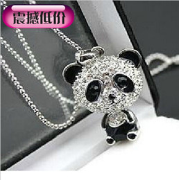 Wholesale Sweater Chain Necklaces Cheap - Cheap Price Imitation Diamond Sweater Chain Necklace Cute Zircon Panda Pendant Necklaces Jewelry For Women Gifts