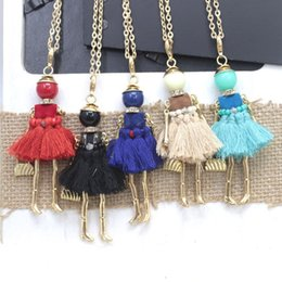 Wholesale Doll Girl Dresses - New Desgin!!! Fashion Doll Pendant Necklace Jewelry Cute doll pendant Women necklace tassels dress girl necklace gifts free shipping