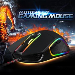 Wholesale Motospeed Mouse - Wholesale- Motospeed V30 Wired Gaming Mouse 6 DPI for Changing Optical Mouse with LED Backlit Display Gamer Mice for Laptop Desktop