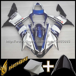 Wholesale Yamaha R1 Fairings White - 23colors+8Gifts BLUE WHITE motorcycle cowl for Yamaha YZF-R1 2002-2003 02 03 YZFR1 2002 2003 02-03 ABS Plastic Fairing