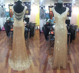 Wholesale Evening Dressess - Bling Gold Sequined Mermaid Prom Dresses Sheath Long 2016 Sexy Backless Crystal Formal Party Gowns Special Occasion Dressess Evening Wear