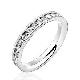 Wholesale stainless steel eternity - Wholesale- Engagement Rings Anniversary Rings Jewelry Women 316L Stainless Steel Eternity Ring for Wedding & Events (Silveren SI0189)
